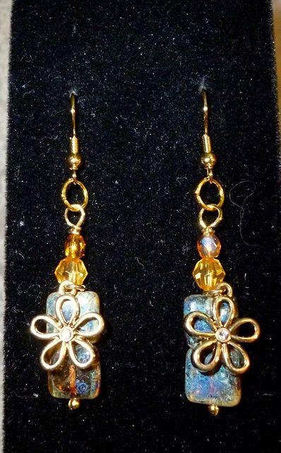 crystal flower & amber beads