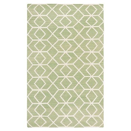 Flatwweave wool rug with a geometric motif. Handmade in India.    Product: RugConstruction Material: Wool