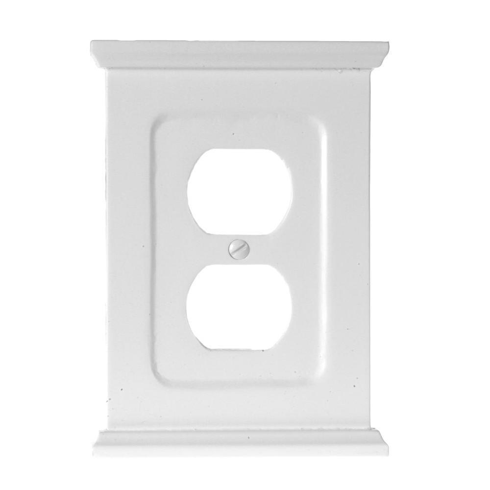 Amerelle Mantel Wood 1 Duplex Wall Plate, White | Plates ...