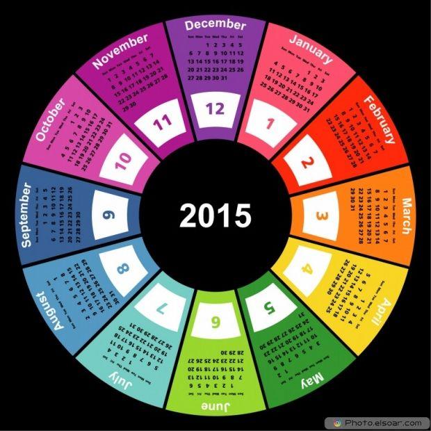 Calendar 2015 On Black