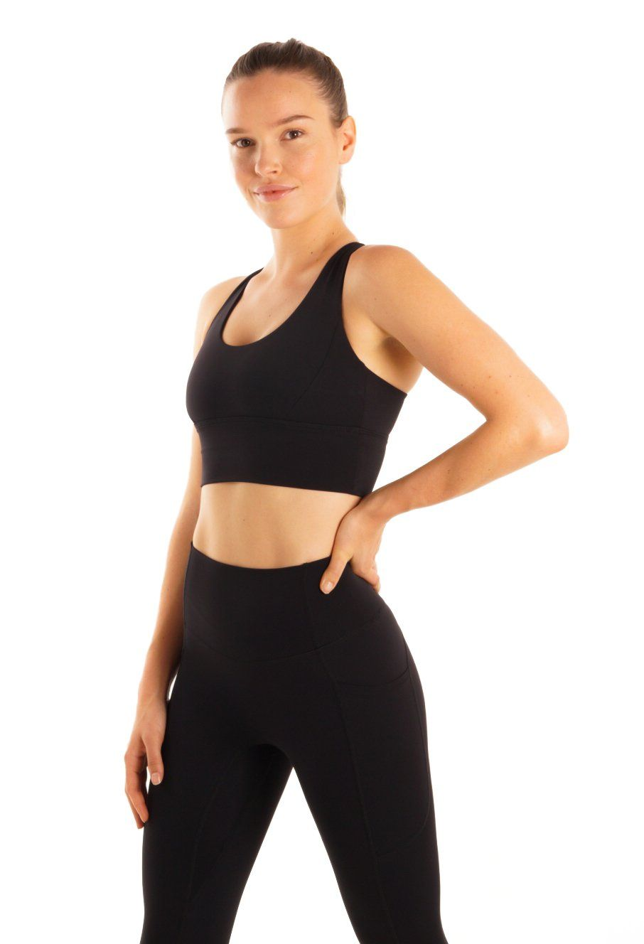 Our latest Revive crop is a medium support sports bra featuring a long line underbust and thick back straps for extra