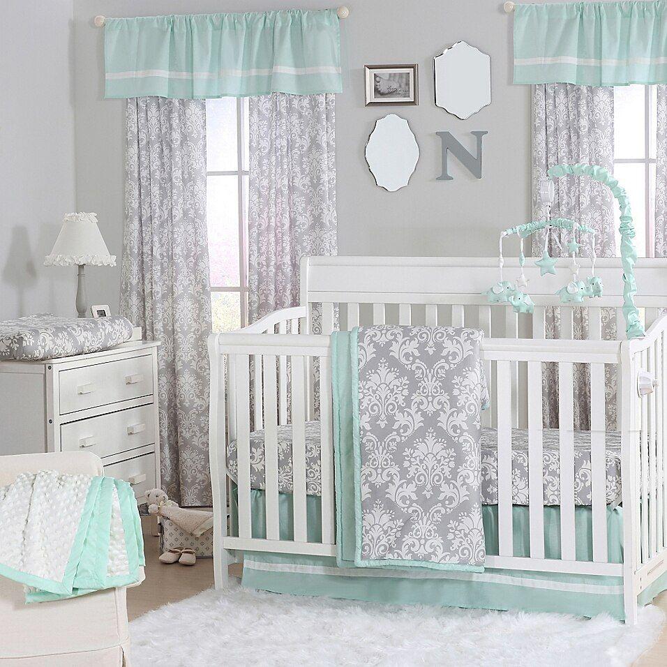 The Peanutshell  Damask 4-Piece Crib Set In Mint/grey
