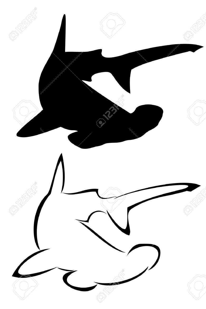 hight resolution of a tribal hammerhead shark tattoo set royalty free cliparts