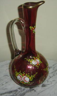 ANTIQUE HAND PAINTED CRANBERRY ART GLASS PITCHER