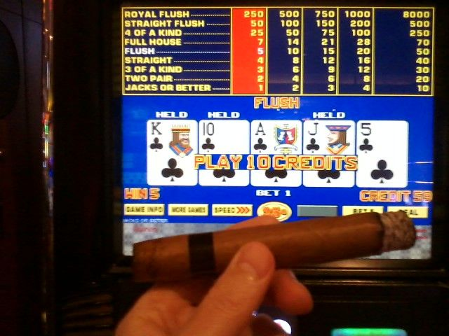 Smoking Cigar in Casino