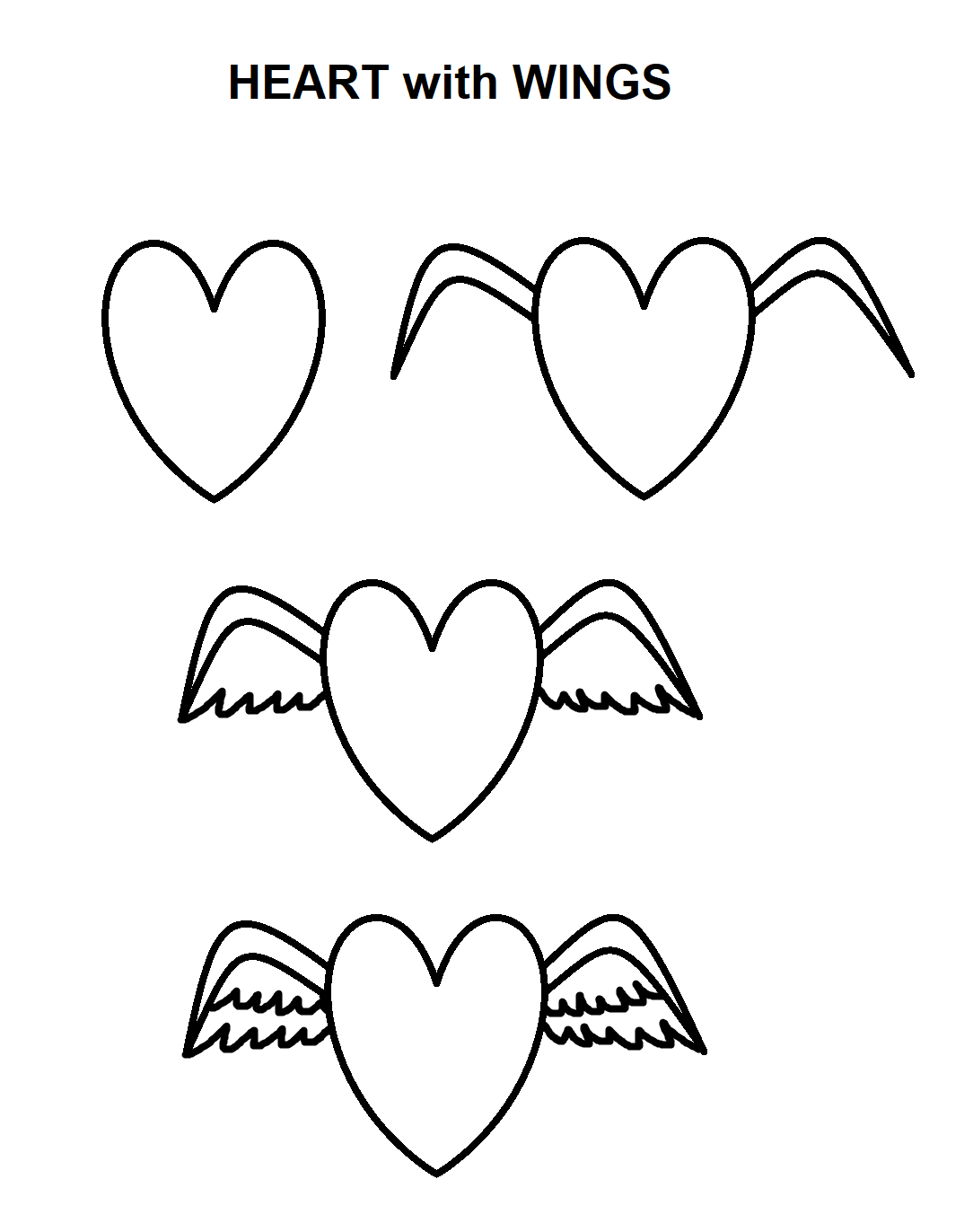 Step By Step Tutorial To Draw Hearts With Wings Heart With Wings Drawing Tutorial Wings