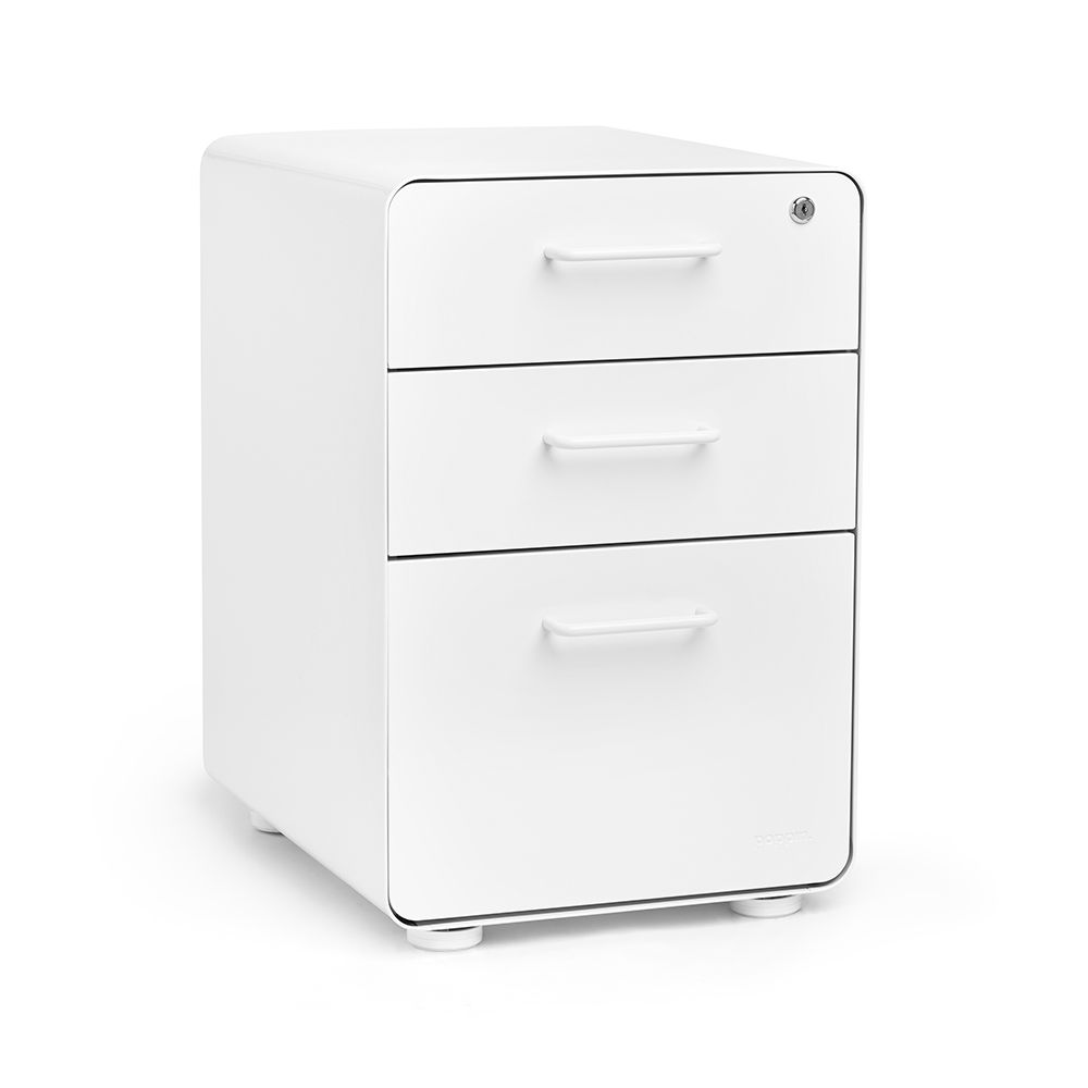 White Fully Loaded West 18th 3 Drawer File Cabinet From Poppin 269