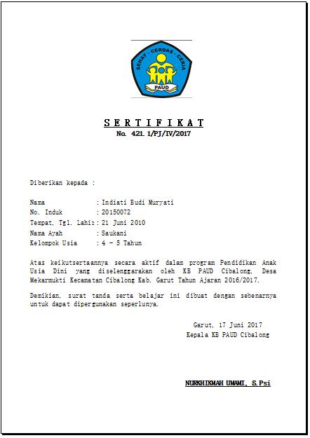 Contoh Ijazah Tk Download File Guru