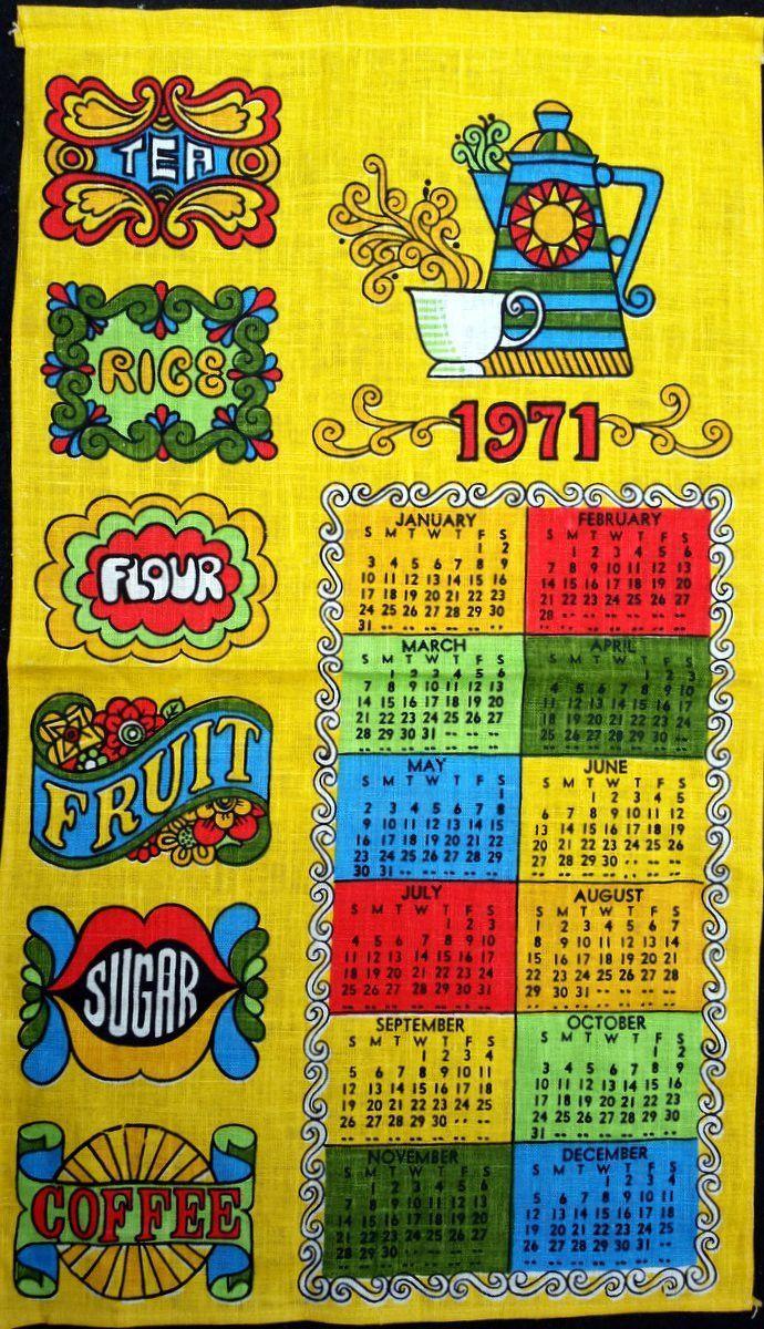 1971 Vintage Calendar Tea Towel Linen Psychedelic Tea