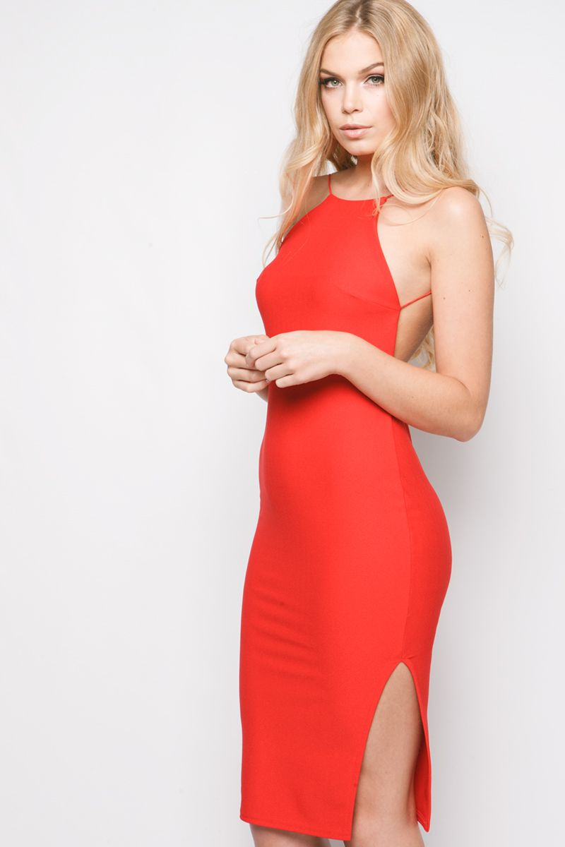Patricia Red Low Back Midi Dress at misspap.co.uk