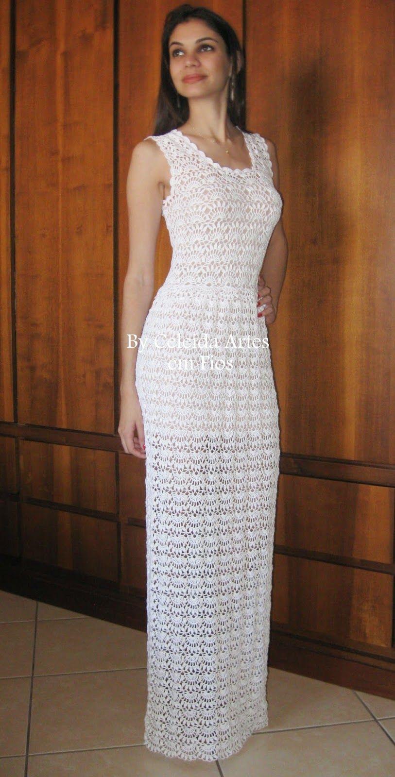 1ead7e434 Celeida Artes em Fios: Vestido de noiva em crochê!   6.dlouhé šaty ...