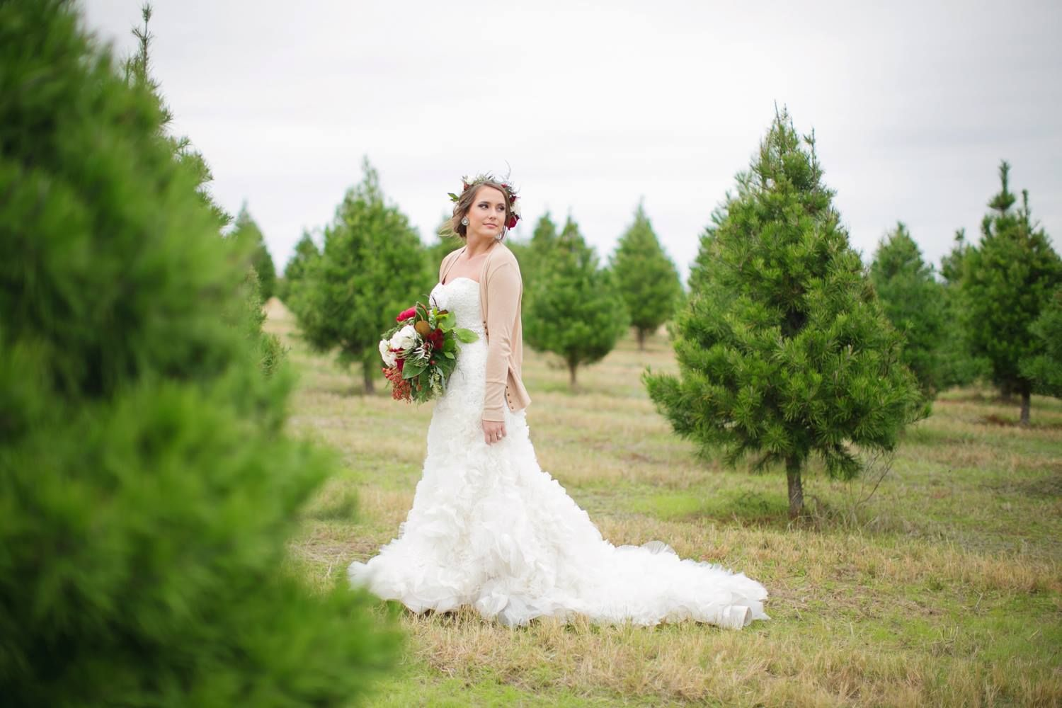 Venue Elgin Christmas Tree Farm Photographer Janeane Marie Photography Floral Sixpence Floral Design Fu Wedding Dresses Lace Diva Design Christmas Tree Farm