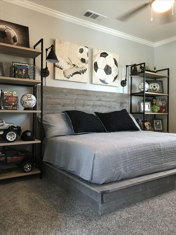 Industrial Style Boy Soccer Themed Bedroom. DIY Handmade Wood Bed. Shelves,  Photos Frames And Wire Baskets Are From Target.