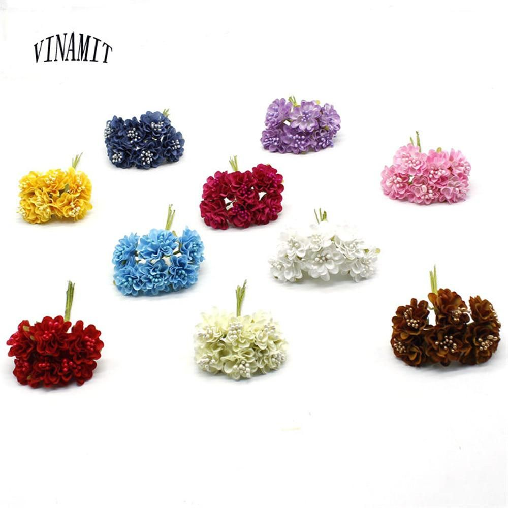 VINAMIT 6 pcs / lot New Mini Silk Daisy Artificial Flower Bouquet DIY  Wedding Decorative Paper