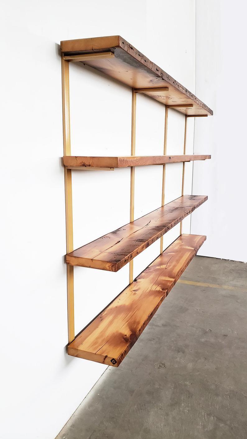 Wall Mounted Shelving Unit 4 Shelf Modern Wall Shelving Brass