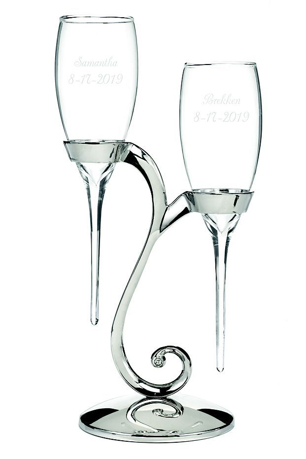 Personalized Elegant Raindrop Toasting Flutes Style Dbk20772p