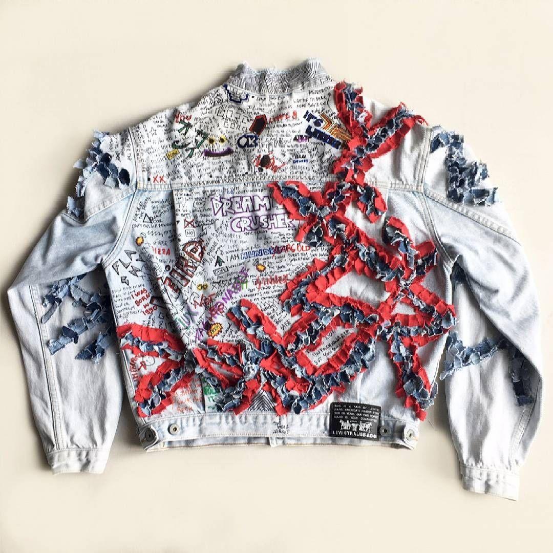 drawing,writing nd sewing. denim reworked jacket. #denim #데님 #denimondenim #denimjacket #jeans #handstitched #custommade  #rouge #rework #drawingart