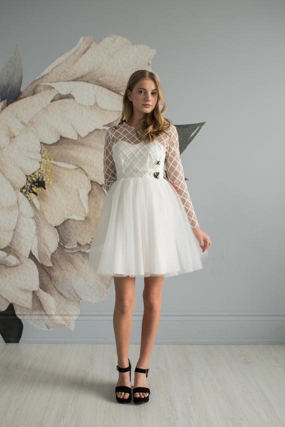 03941872de White cocktail dress, reception dress, prom dress, crystal bees, bee dress, tulle  skirt, reception d