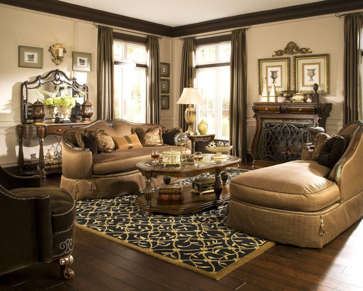 Michael Amini S Sovereign Living Room In Soft Mink