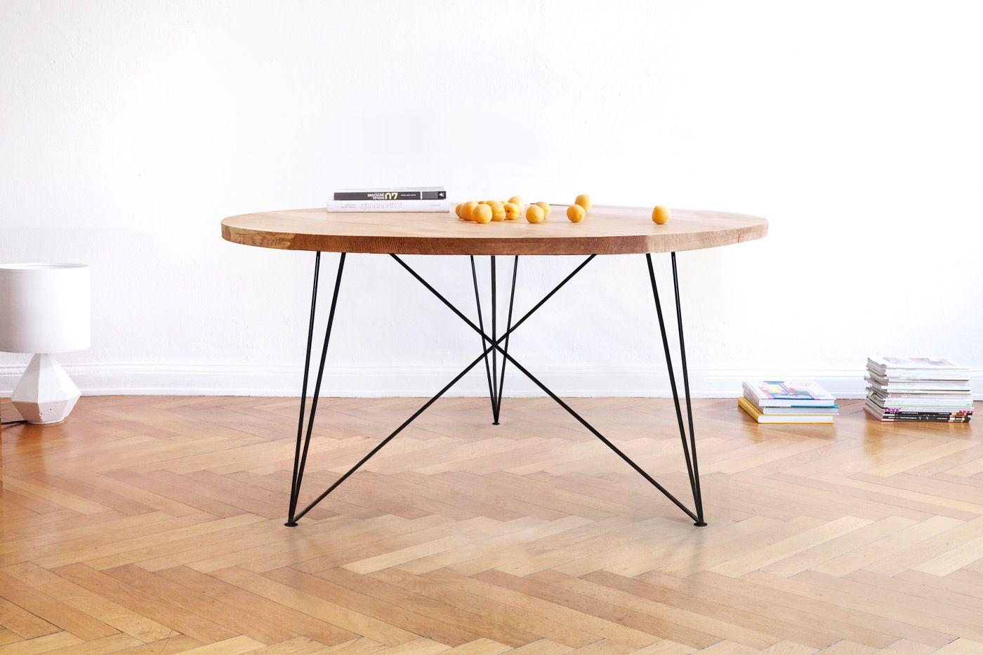 Nutsandwoods Oak Steel Table Round Steel Table Round Oak Dining Table Round Dining Table
