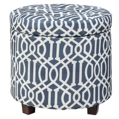 Pleasant Threshold Round Tufted Storage Ottoman Blue White Trellis Ncnpc Chair Design For Home Ncnpcorg
