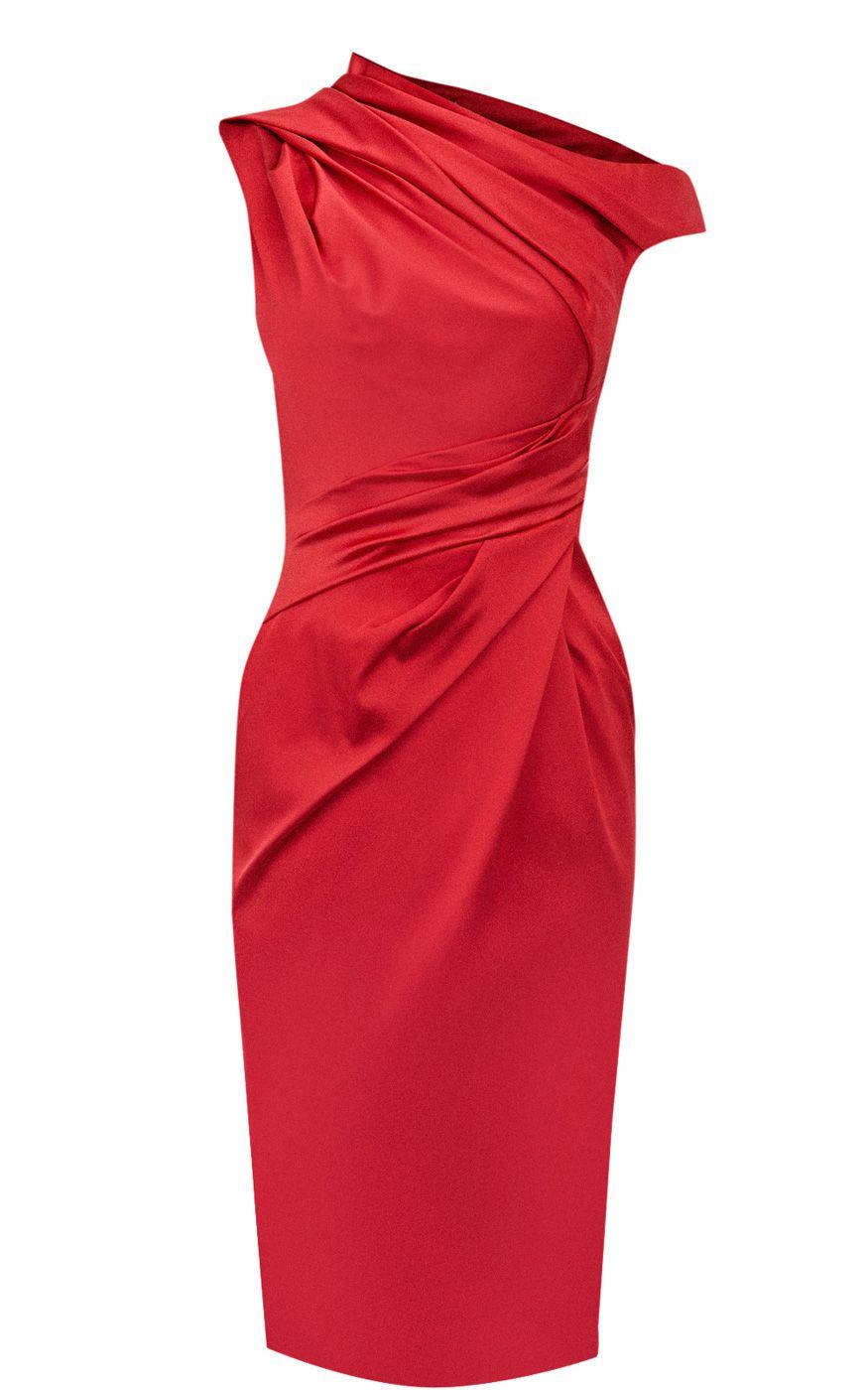 Karen millen Signature Stretch Satin Dress in Natural | Lyst