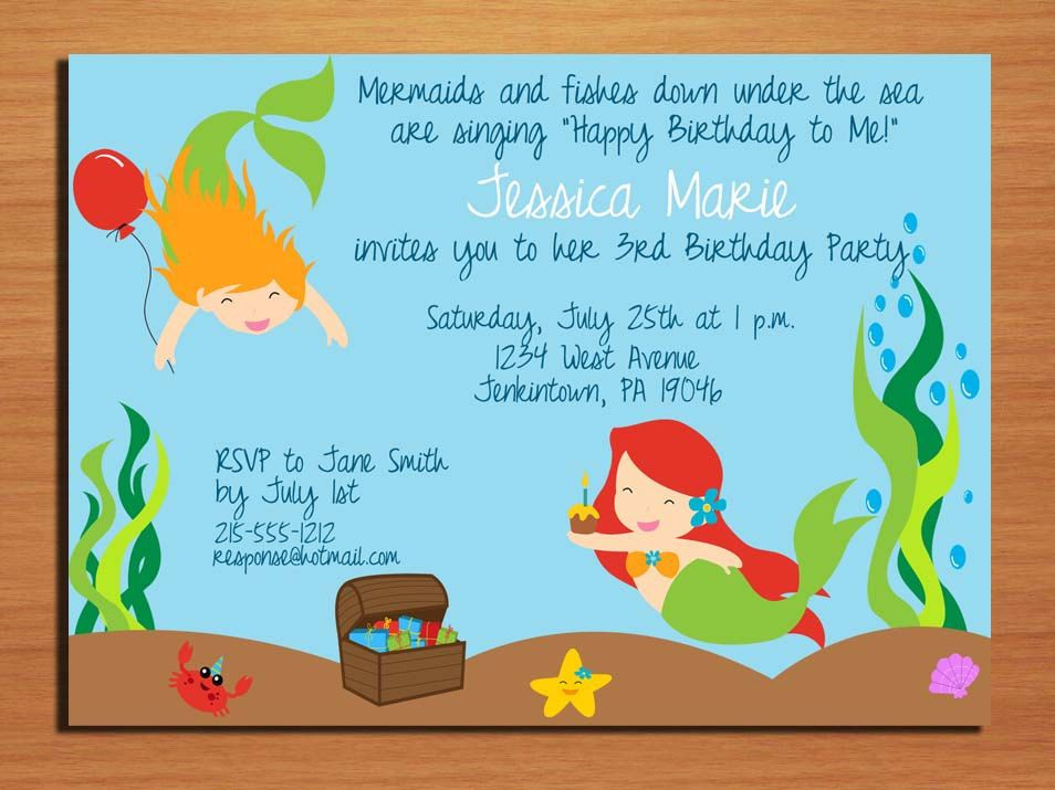 Little Mermaid / Under the Sea Birthday Party Invitation Cards ...