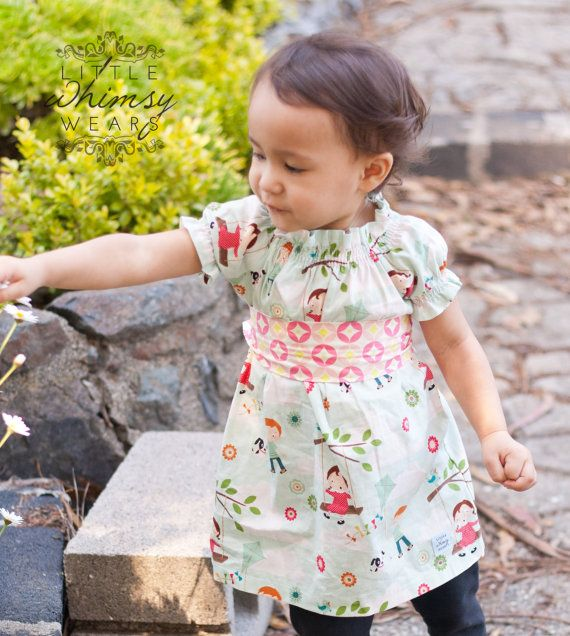 Go Fly a Kite  Lovely Gathered Peasant Dress by Littlewhimsywears, $38.00