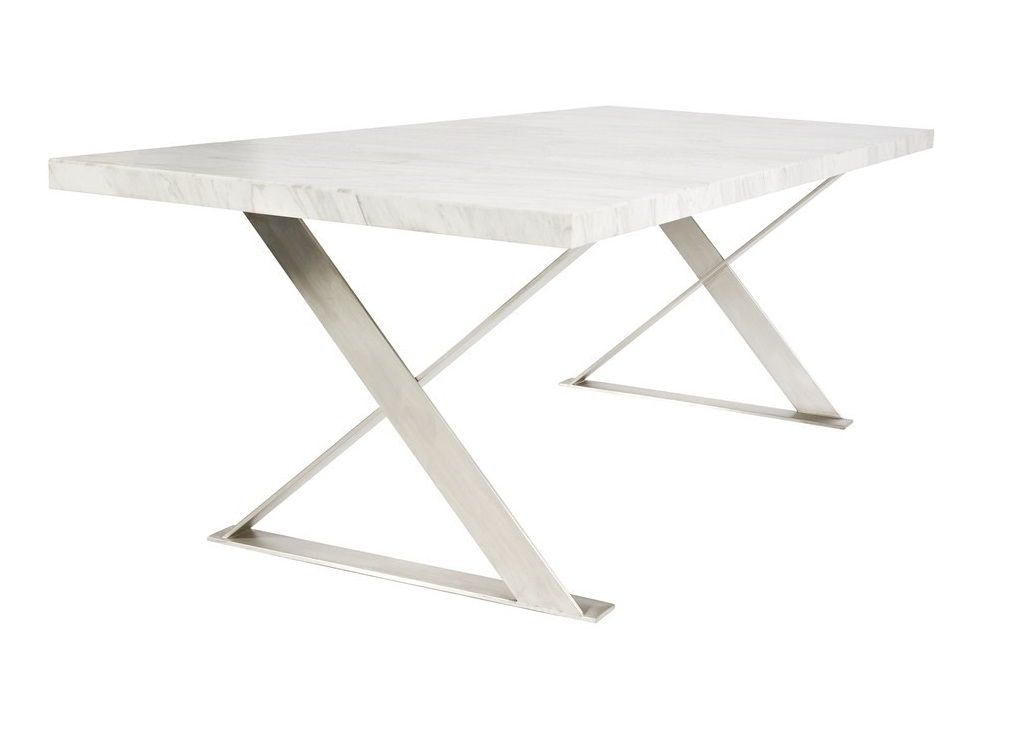 Venice Marble Top Dining Table With Stainless Steel Legs