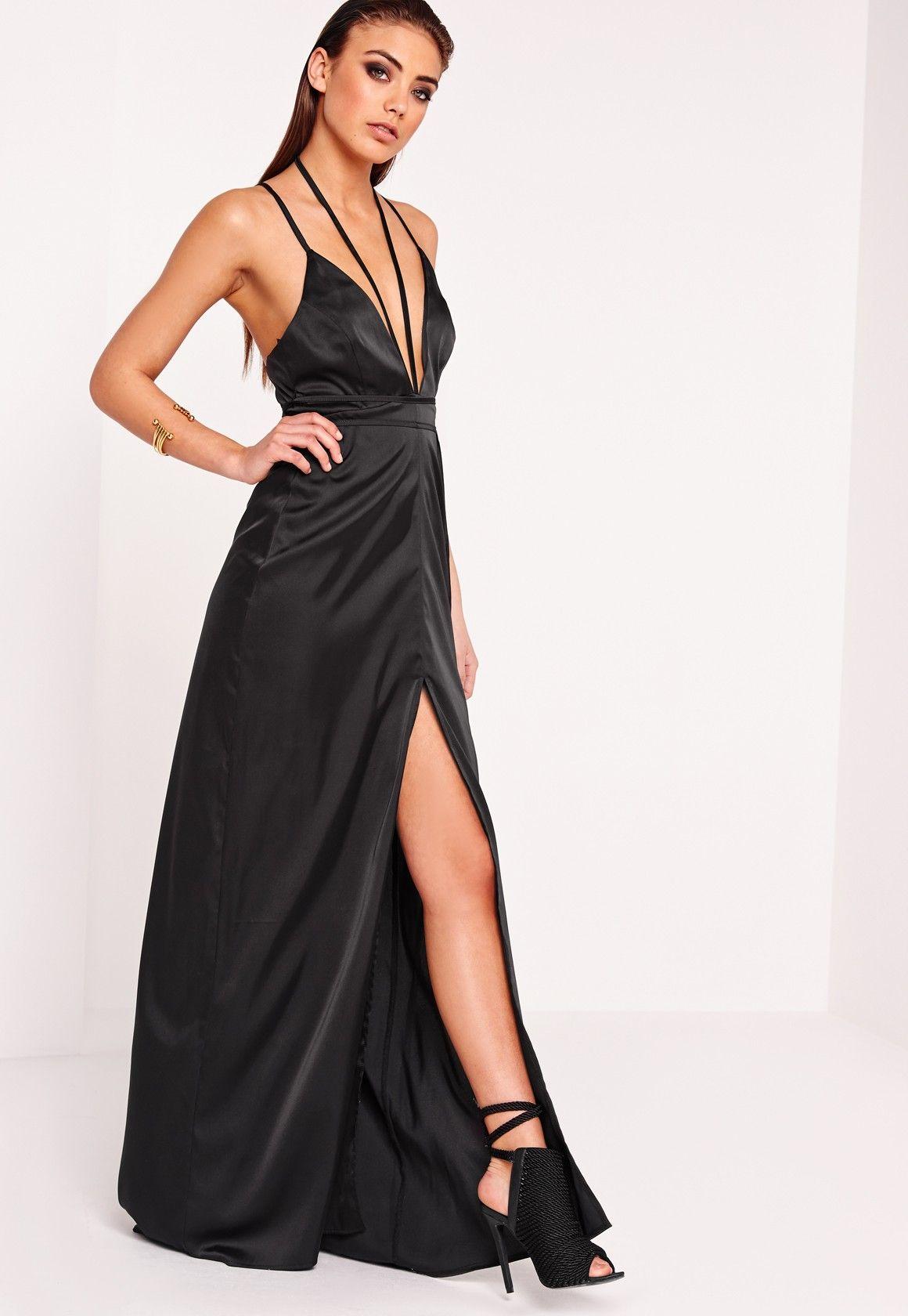 e4b9fc242d0 Missguided - Peace Love Satin Tie Waist Maxi Dress Black