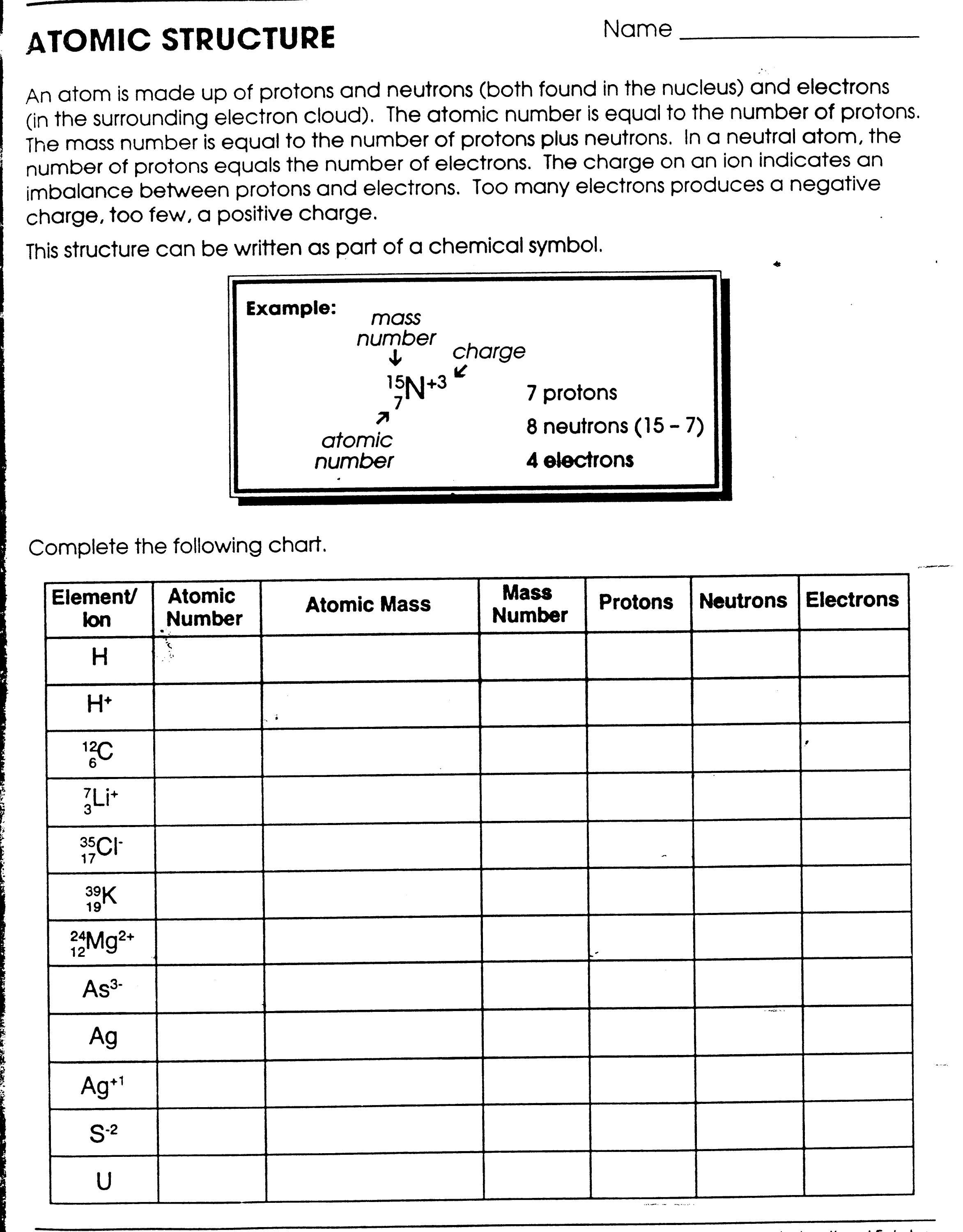 Atomic Structure Practice 1 Worksheet Answer Key