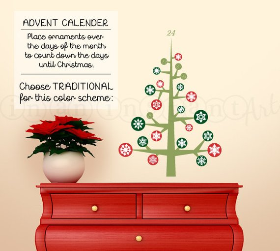 advent calendar wall decal, 24 days of christmas, christmas holiday