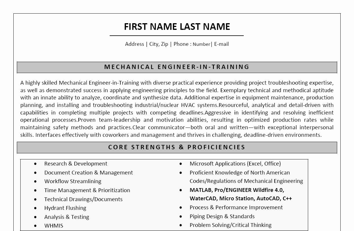 25 Engineering Resume Template Word in 2020 (With images