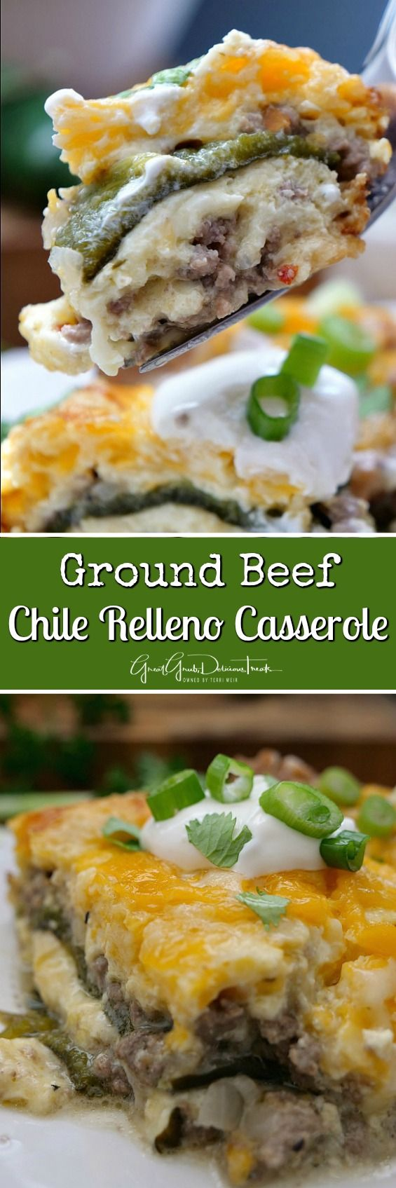 Ground Beef Chile Relleno Casserole a delicious Mexican food recipe loaded with cheese, oven roasted Poblano peppers and seasoned ground beef.