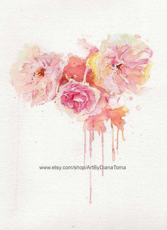 Peony Watercolor Flower Tattoos: Peonies+/+8+x+10+fine+art+watercolor+print+by