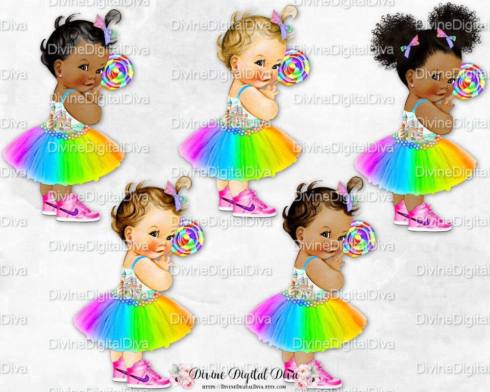 Baby Girl Babies of Color Clipart Instant Download Candy Girl Rainbow Dress Sneakers Lollipop Hot Pink Purple Yellow Orange