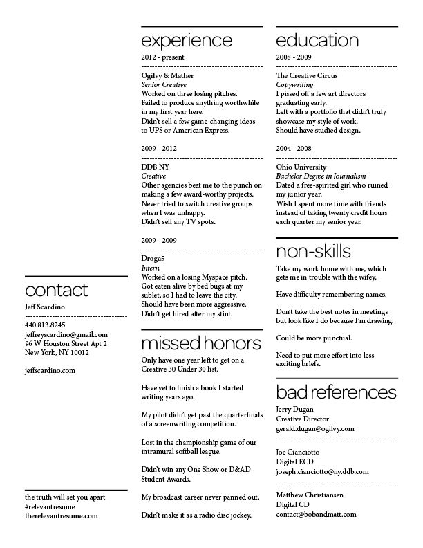 The relevant resume Branding Personal resumes portfolios