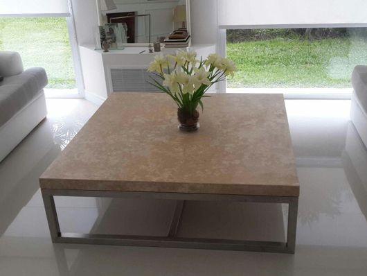 Tapa de mesa ratona en travertino taponado mesas ratonas - Mesa de marmol travertino ...