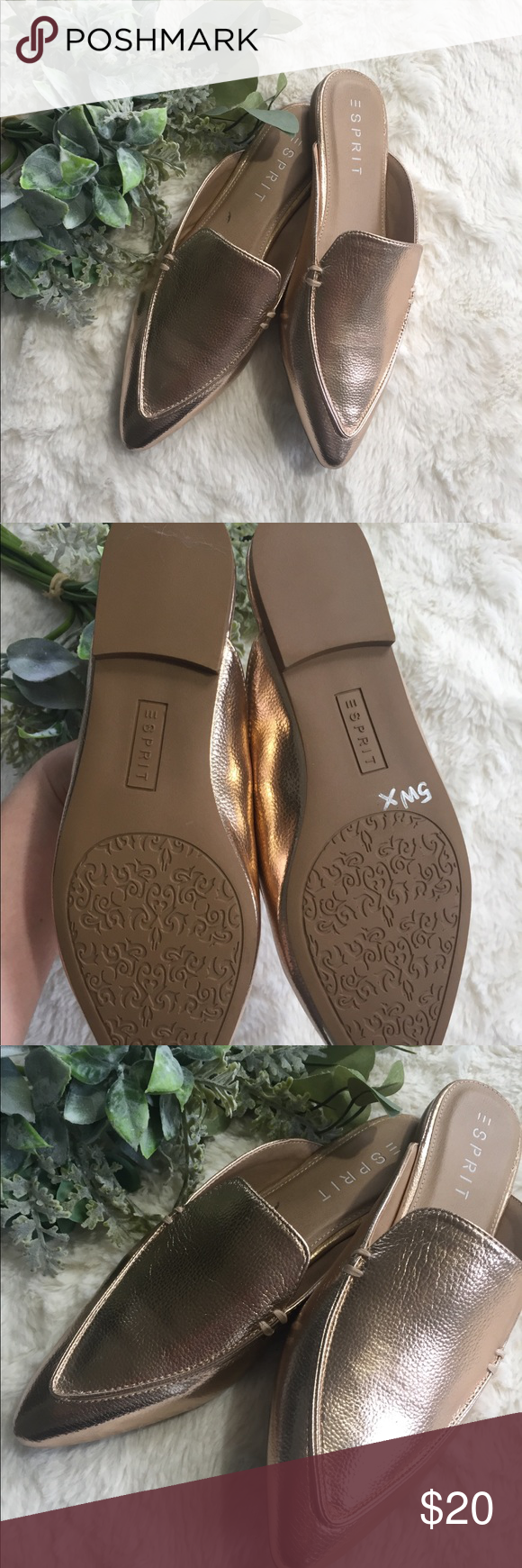 cc613901471994 Esprit Mia Rose Gold Mules New out of box Rose Gold Mules by Esprit Women s  size 8.5 From a smoke and pet free home Esprit Shoes Mules   Clogs