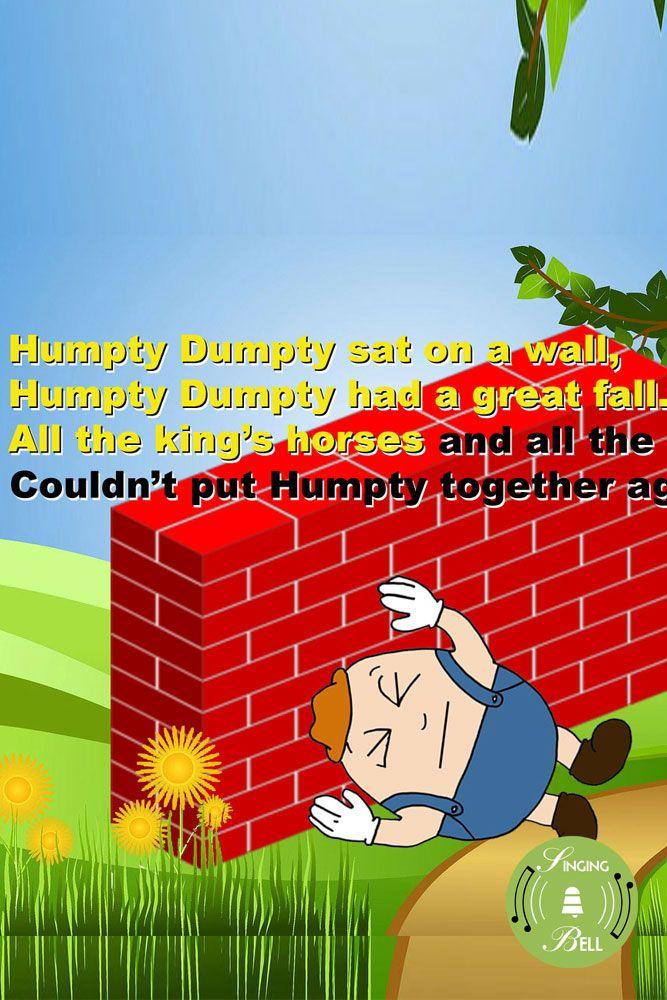 Humpty Dumpty Childrens Songs Nursery Rhymes Pinterest