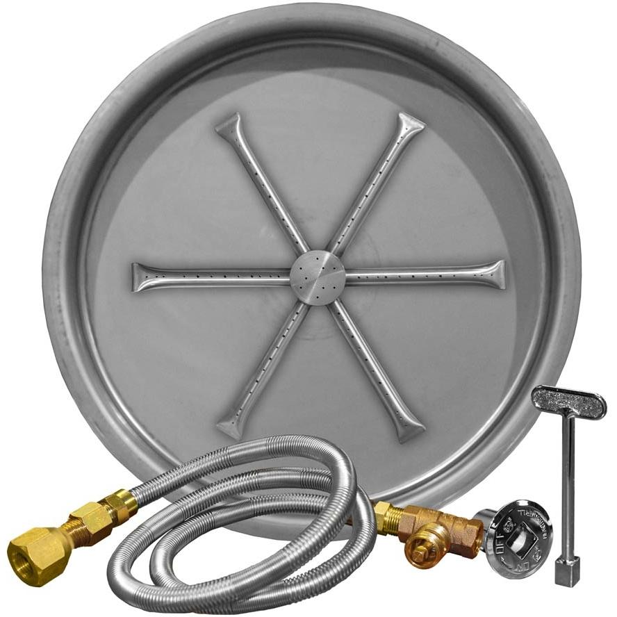 Fire Pit Parts, Fire Pits, Propane Fire Pit Kit, Fire Pit Accessories, - Firegear 25-Inch Round Burning Spur Natural Gas Fire Pit Burner Kit