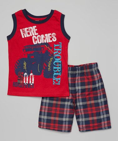 Look what I found on #zulily! 'Here Comes Trouble' Tank & Plaid Shorts - Toddler & Boys by Little Rebels #zulilyfinds