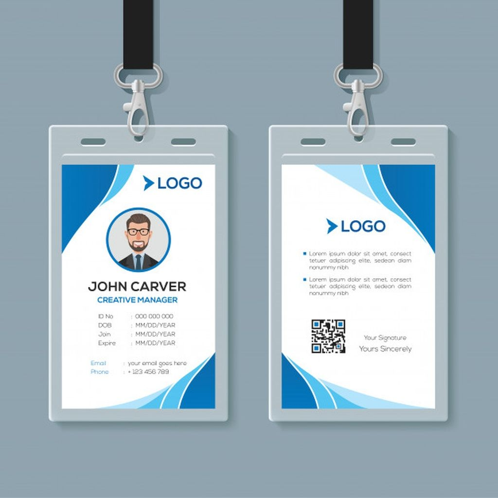 Simple Blue Office Id Card Template Paid Ad Affiliate Office Template Card Blue Id Card Template Business Card Mock Up Identity Card Design