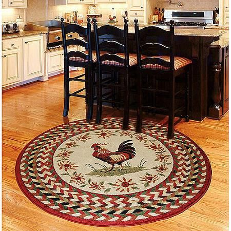 Orian Rooster Braid Rouge Area Rug Walmart Com Rooster Kitchen