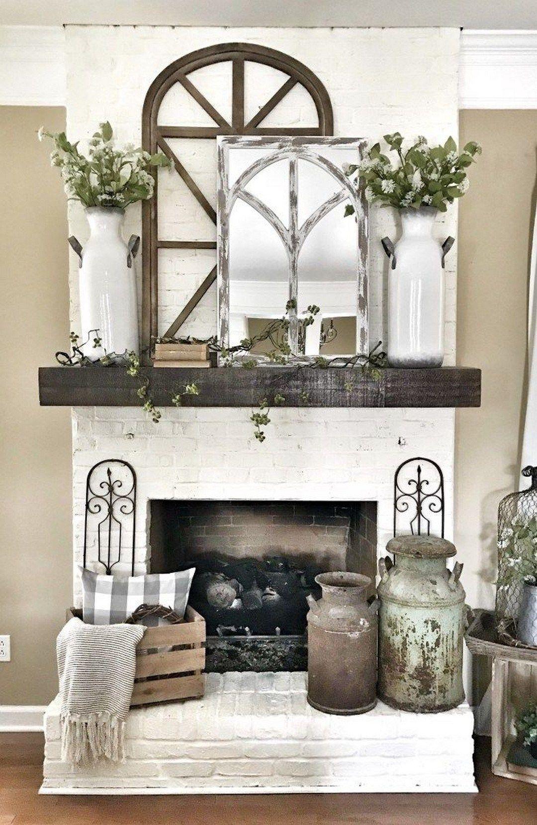 96 Beautiful Farmhouse Fireplace Mantel Decorations That Will Make Fireplace Mantle Decor Fireplace Mantel Decor Farmhouse Mantle Decor