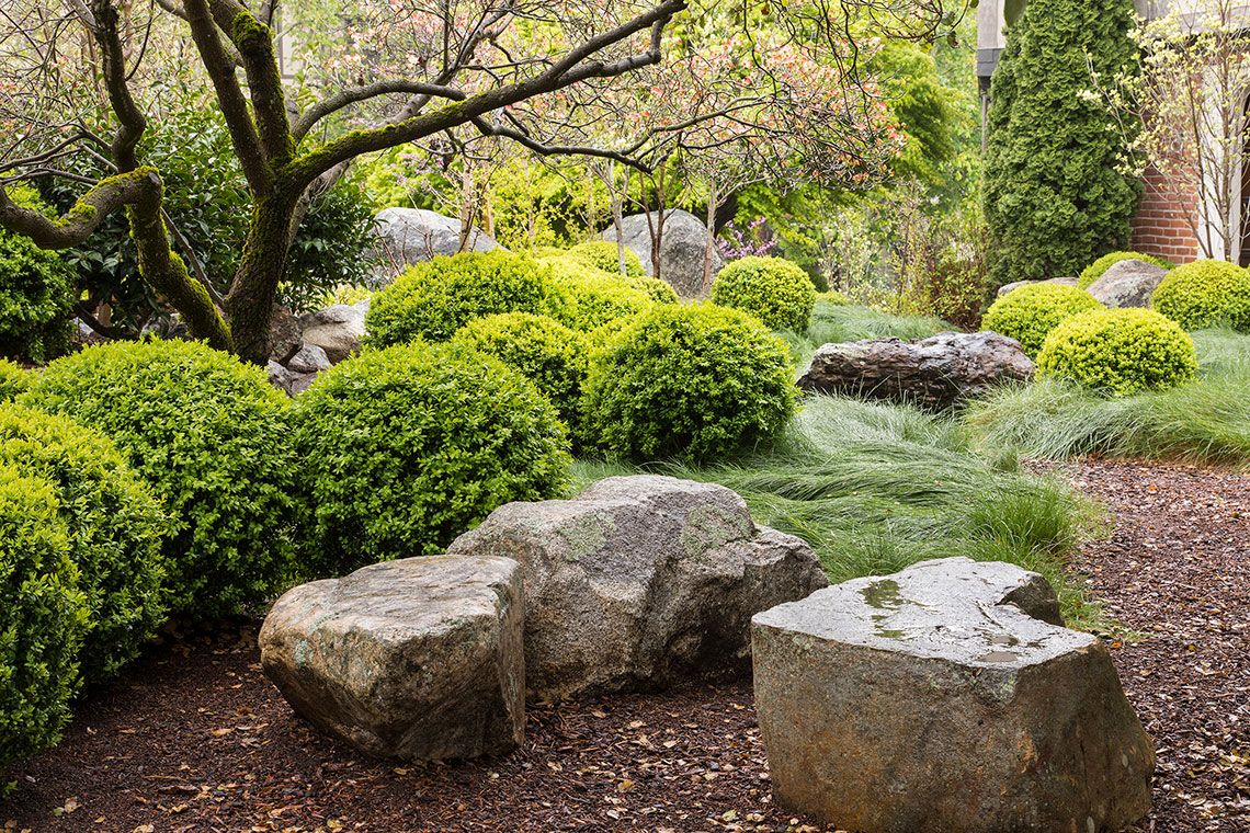 On The Hill Integrated With The Naturalized Plants Boxwoods That Can Tolerate Long Hours Of Hot English Garden Design Stone Landscaping Small Yard Landscaping