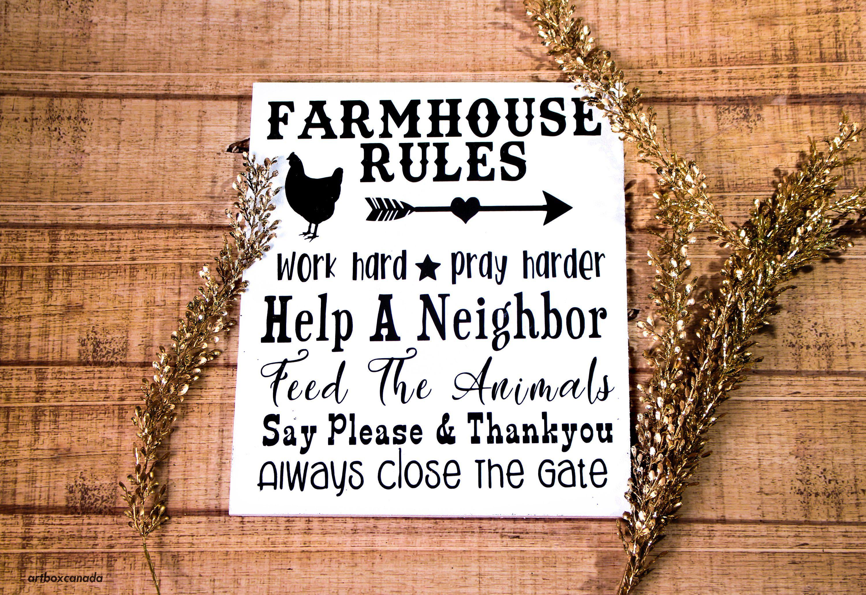 Home Decor Farmhouse Decor Farmhouse Rules Sign Farm Sign Metal Sign