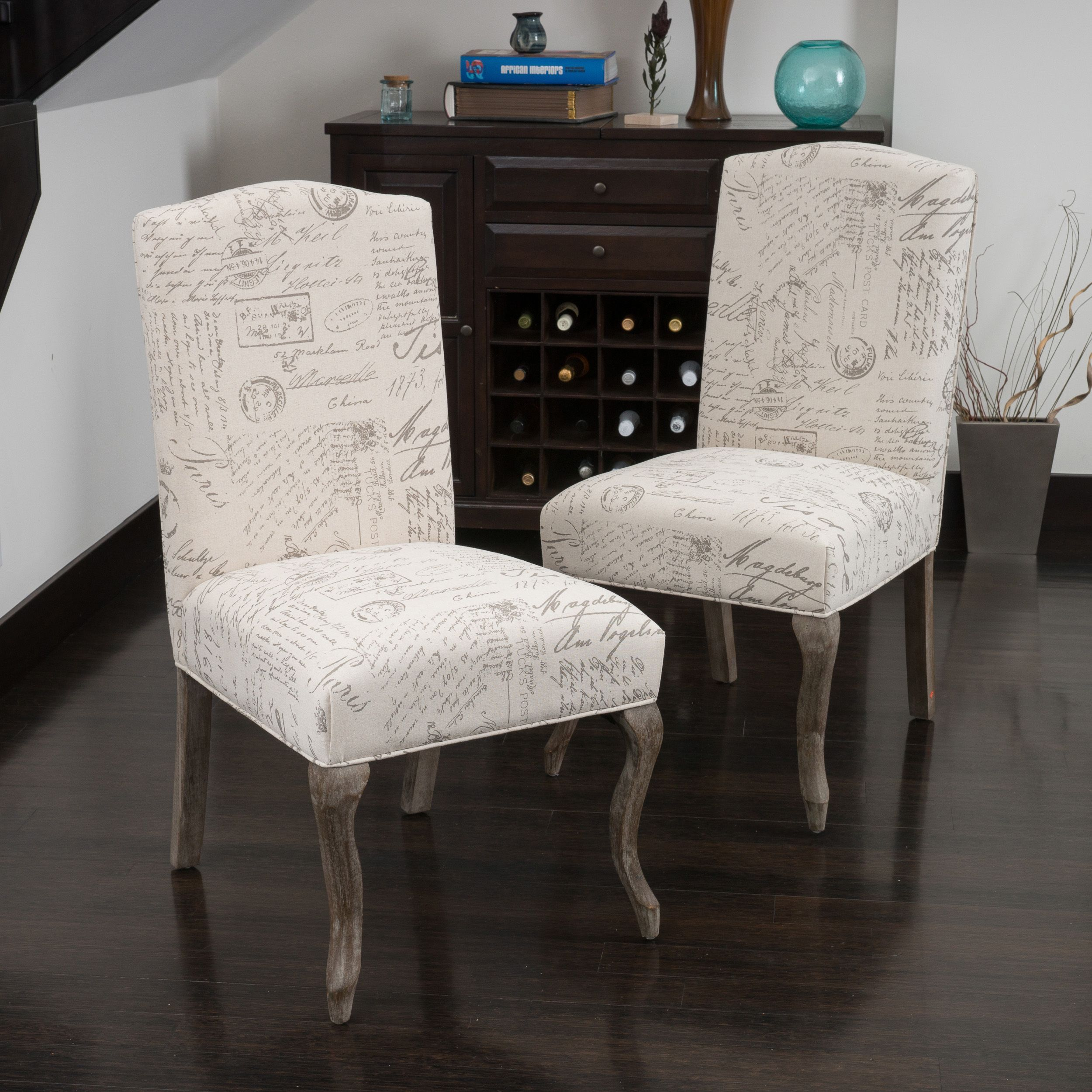 crown top french script beige fabric dining chair (set of 2) by