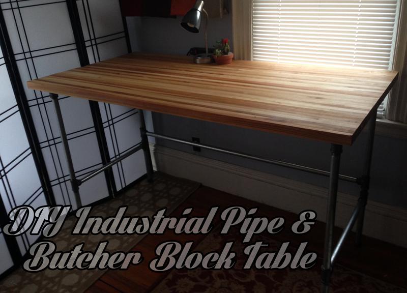 Beau DIY Industrial Butcher Block Pipe Table