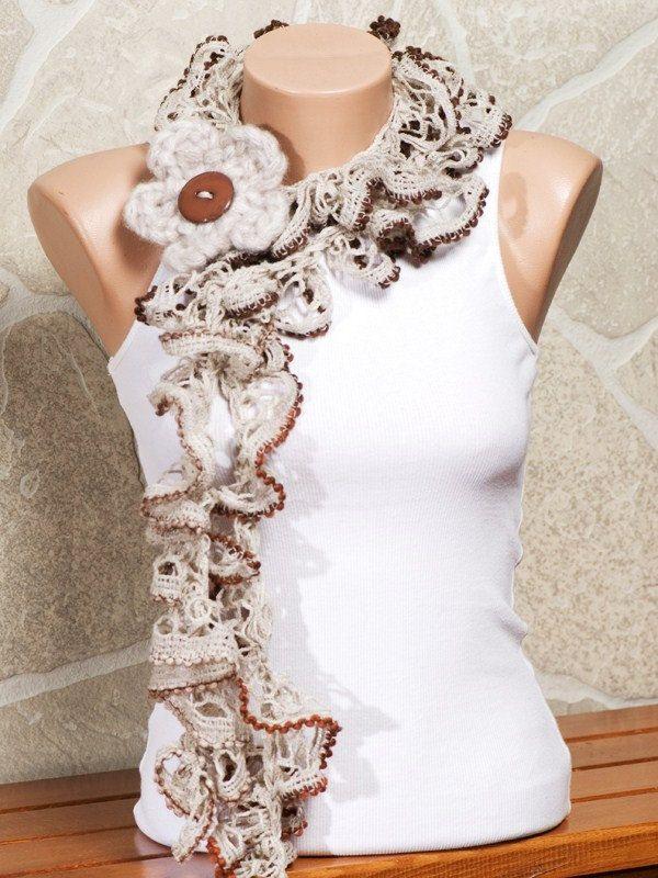 Stone Flower Ruffles Scarf | Sashay crochet | Pinterest